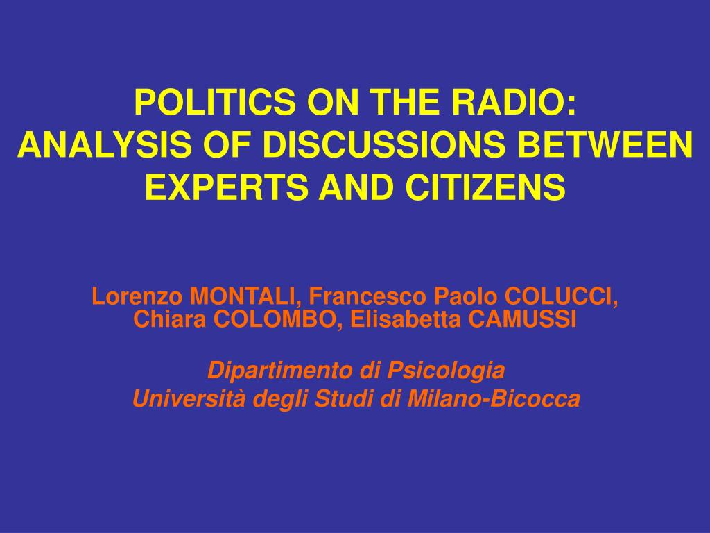 politics on the radio analysis of discussions between experts and citizens