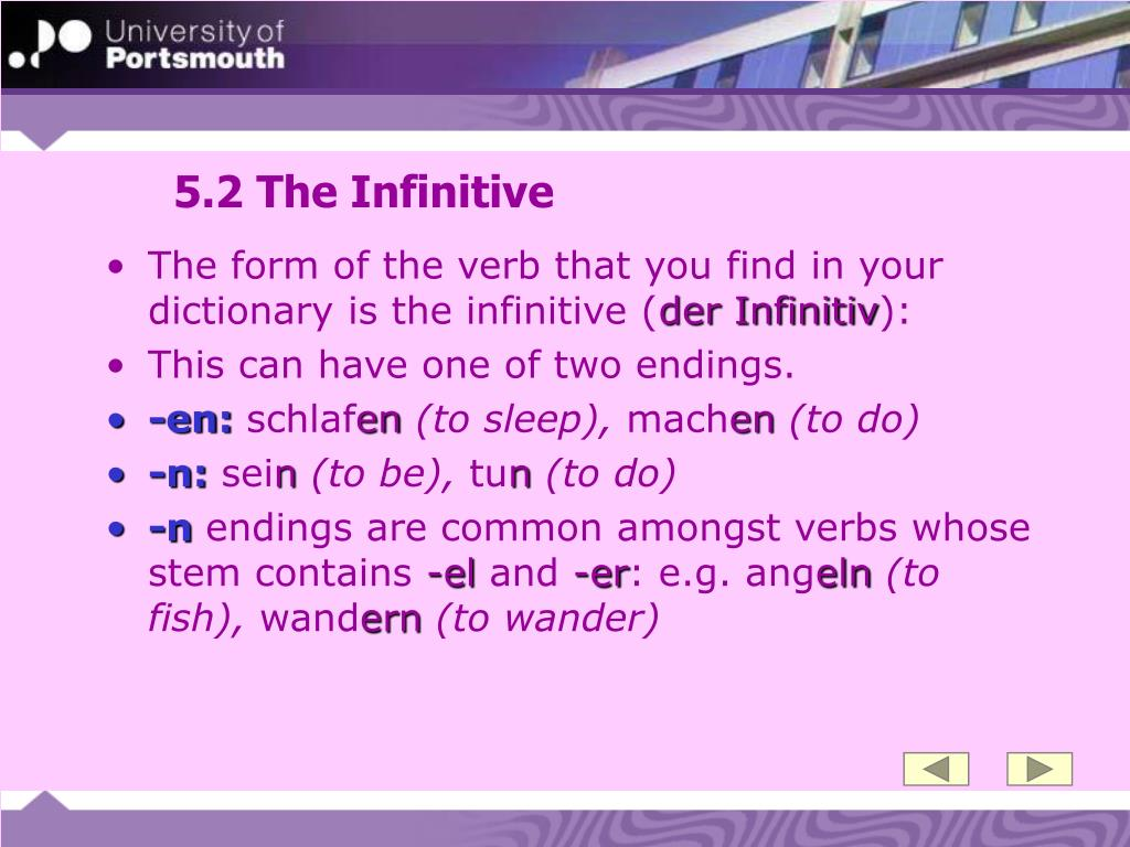 5.2 The Infinitive