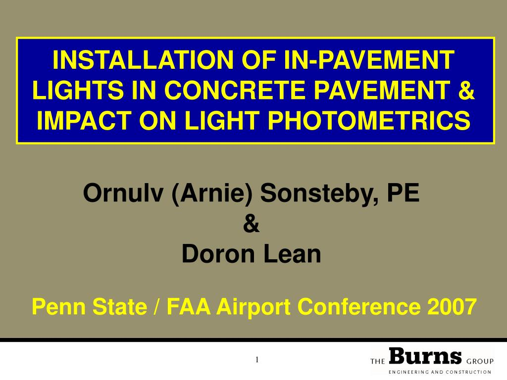 installation of in pavement lights in concrete pavement impact on light photometrics l.
