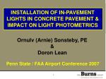 installation of in pavement lights in concrete pavement impact on light photometrics