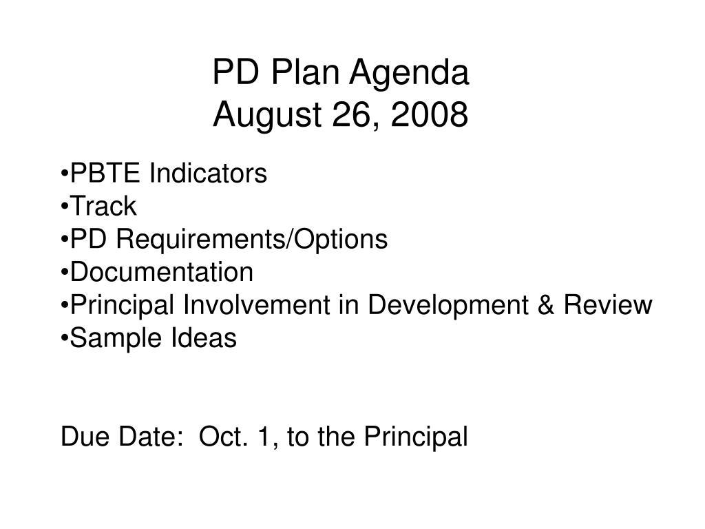 pd plan agenda august 26 2008 l.