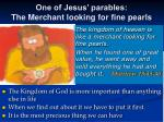one of jesus parables the merchant looking for fine pearls