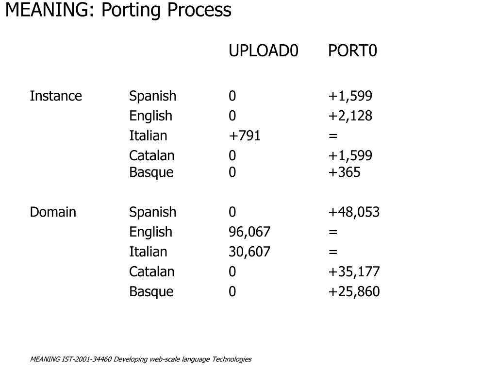 MEANING: Porting Process