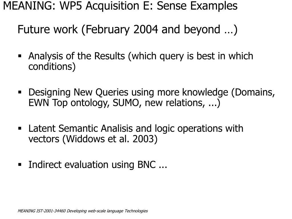 MEANING: WP5 Acquisition E: Sense Examples