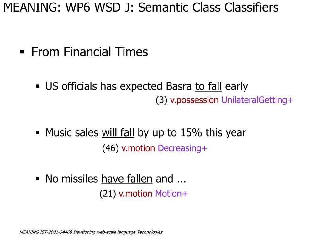 MEANING: WP6 WSD J: Semantic Class Classifiers