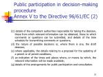 public participation in decision making procedure annex v to the directive 96 61 ec 2