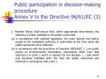 public participation in decision making procedure annex v to the directive 96 61 ec 3
