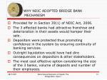why ndic adopted bridge bank mechani mechanism