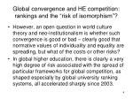 global convergence and he competition rankings and the risk of isomorphism