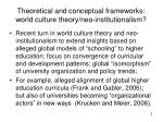 theoretical and conceptual frameworks world culture theory neo institutionalism