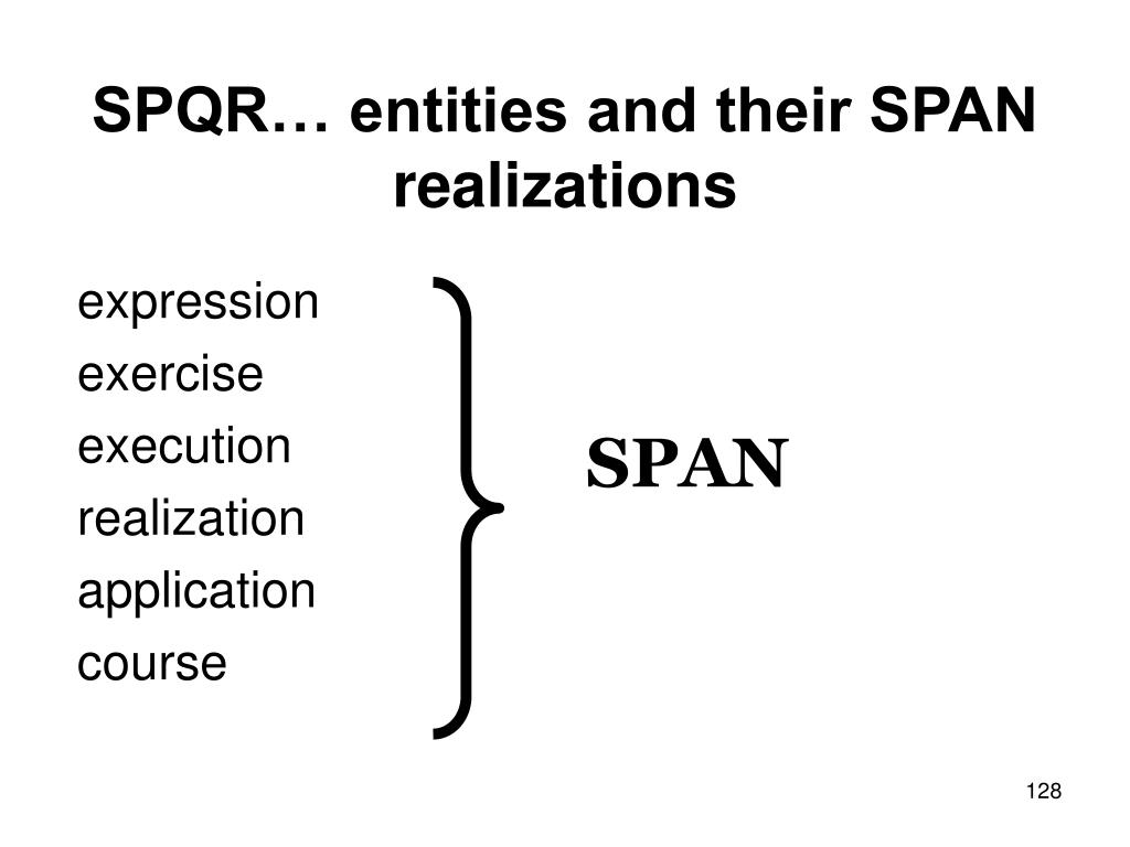 SPQR… entities and their SPAN realizations