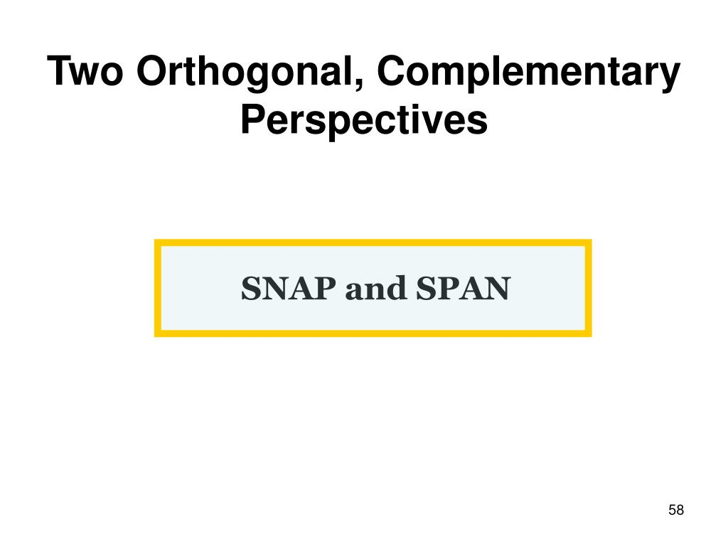 Two Orthogonal, Complementary Perspectives
