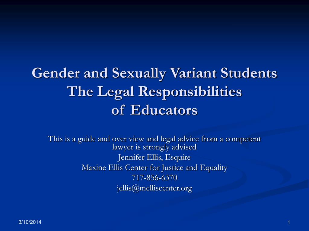 gender and sexually variant students the legal responsibilities of educators