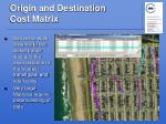 origin and destination cost matrix