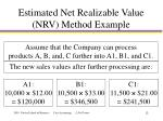 estimated net realizable value nrv method example