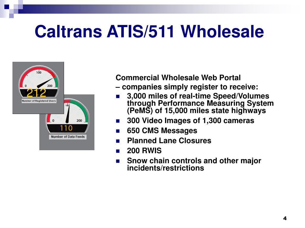 Caltrans ATIS/511 Wholesale