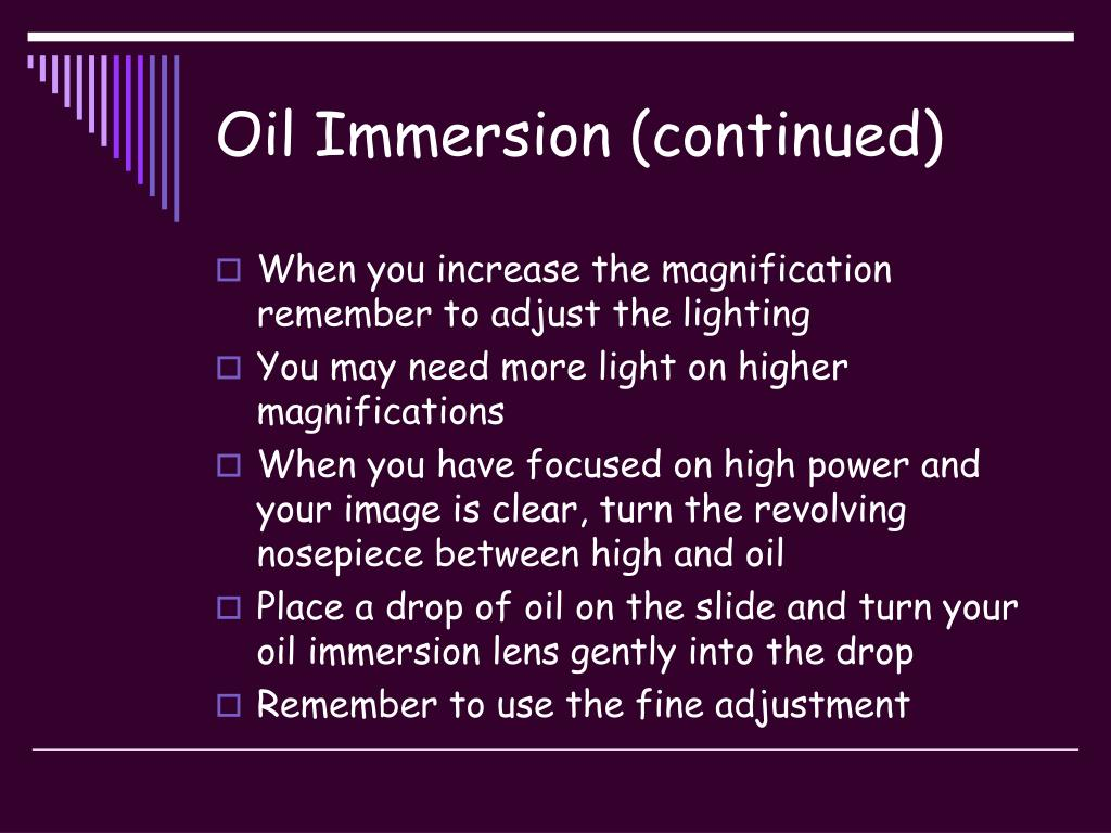 Oil Immersion (continued)