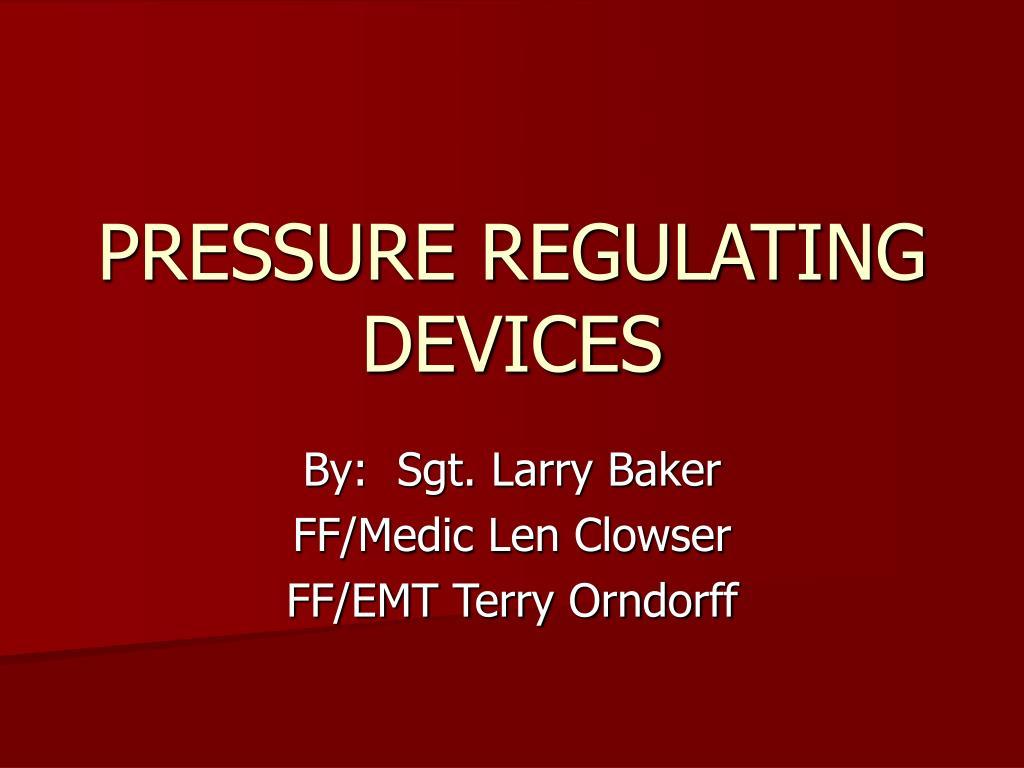 pressure regulating devices l.