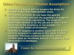 urban focused pre rotation assumptions