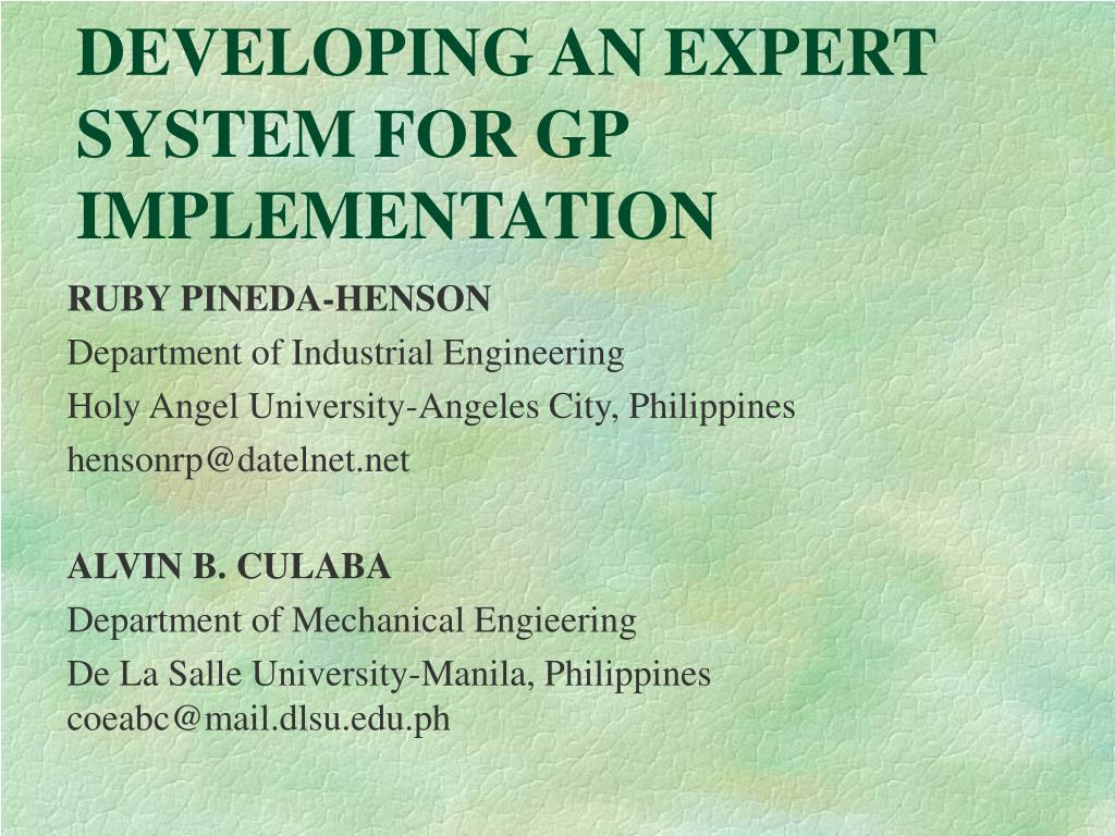 developing an expert system for gp implementation l.