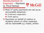 reimbursement of expenses payment to third parties
