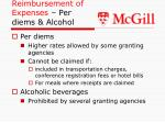 reimbursement of expenses per diems alcohol