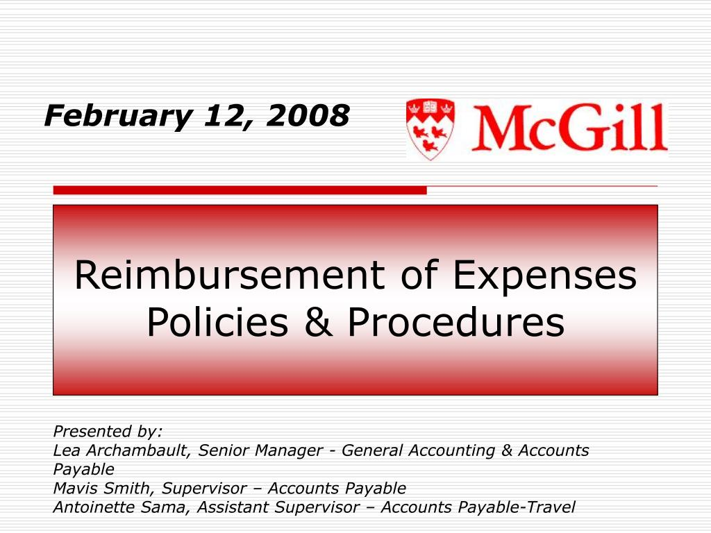 reimbursement of expenses policies procedures l.
