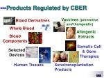 products regulated by cber