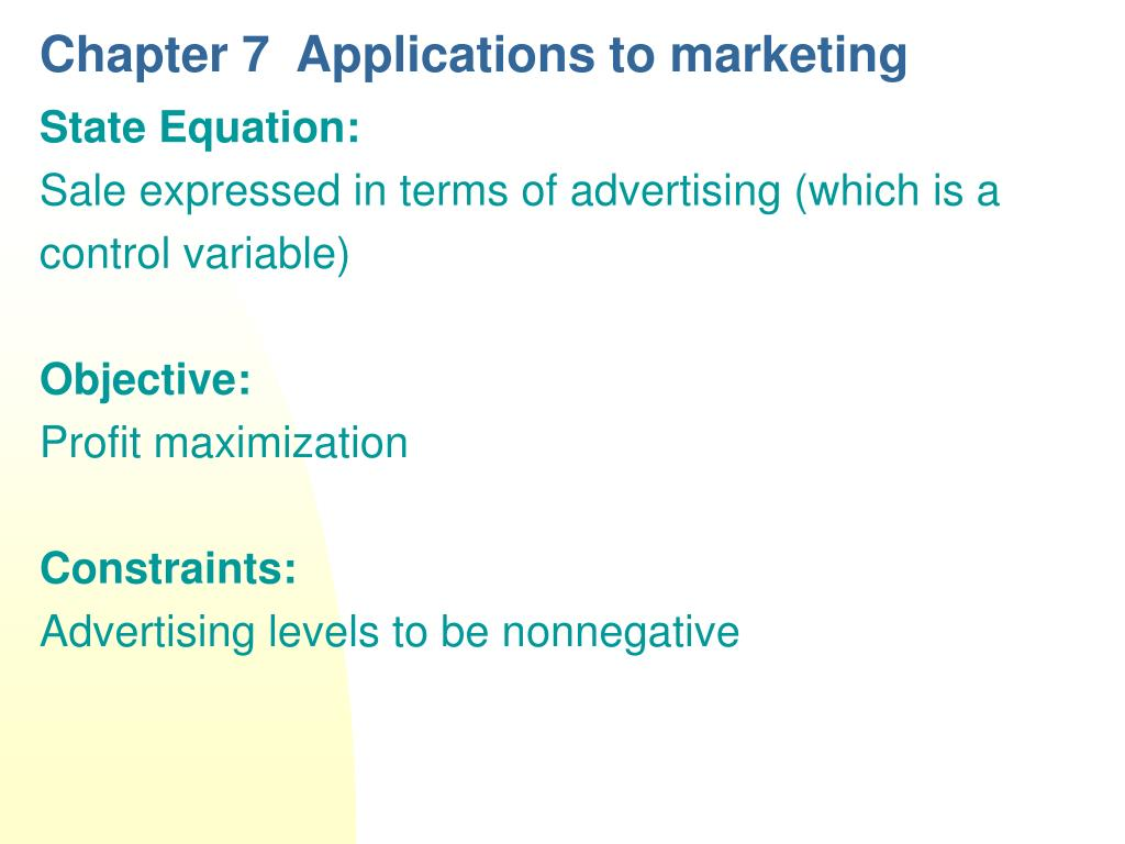 chapter 7 applications to marketing l.