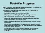 post war progress