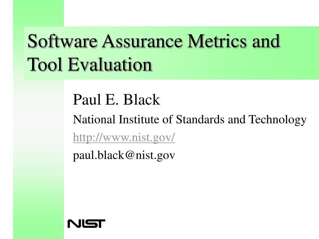 software assurance metrics and tool evaluation l.