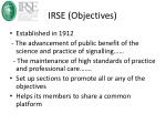 irse objectives