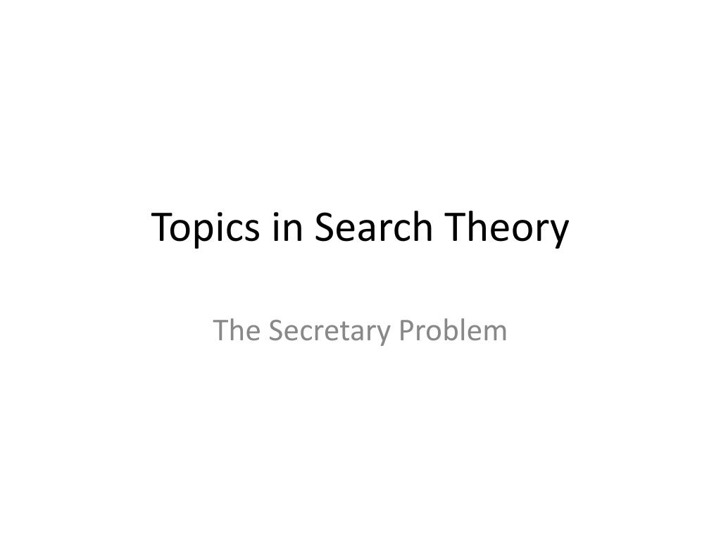 topics in search theory l.