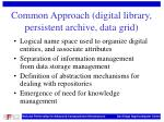 common approach digital library persistent archive data grid