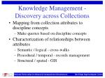 knowledge management discovery across collections