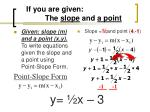 if you are given the slope and a point