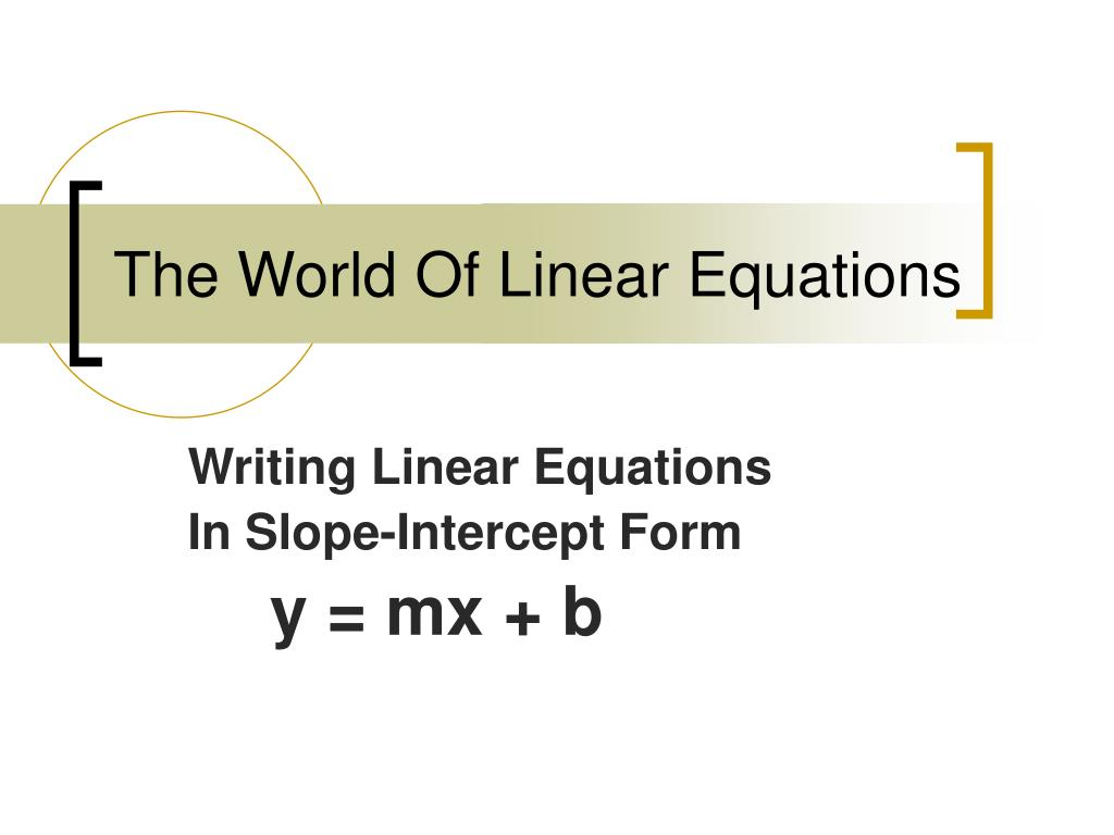 the world of linear equations l.