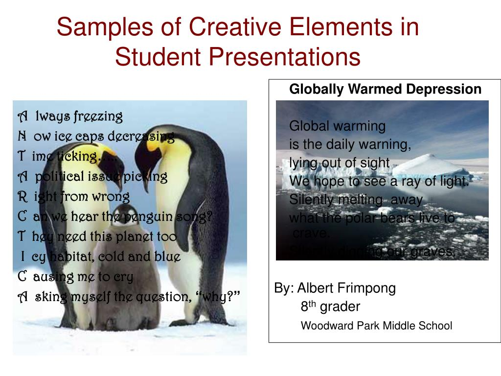 Samples of Creative Elements in Student Presentations