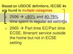 based on usdoe definitions iecse s are found in multiple categories