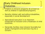 early childhood inclusion outcomes