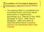 foundation of consultative approach distributed v massed practice effects