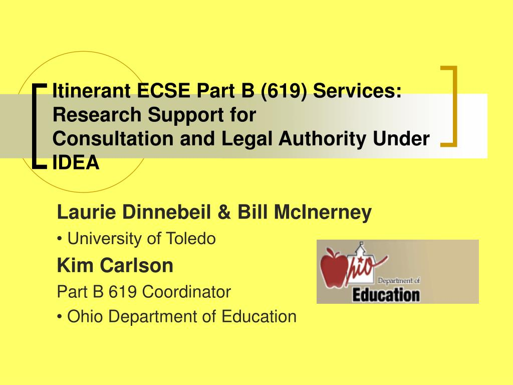 itinerant ecse part b 619 services research support for consultation and legal authority under idea l.