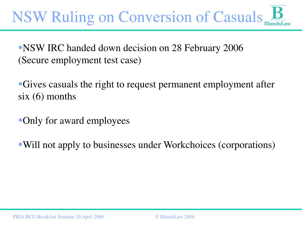 NSW Ruling on Conversion of Casuals