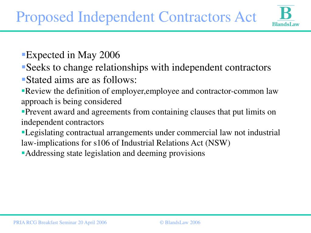 Proposed Independent Contractors Act