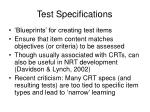 test specifications