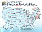 2008 gasoline vs electricity prices average gasoline price 3 25 gallon and electricity 11 36 kwhr