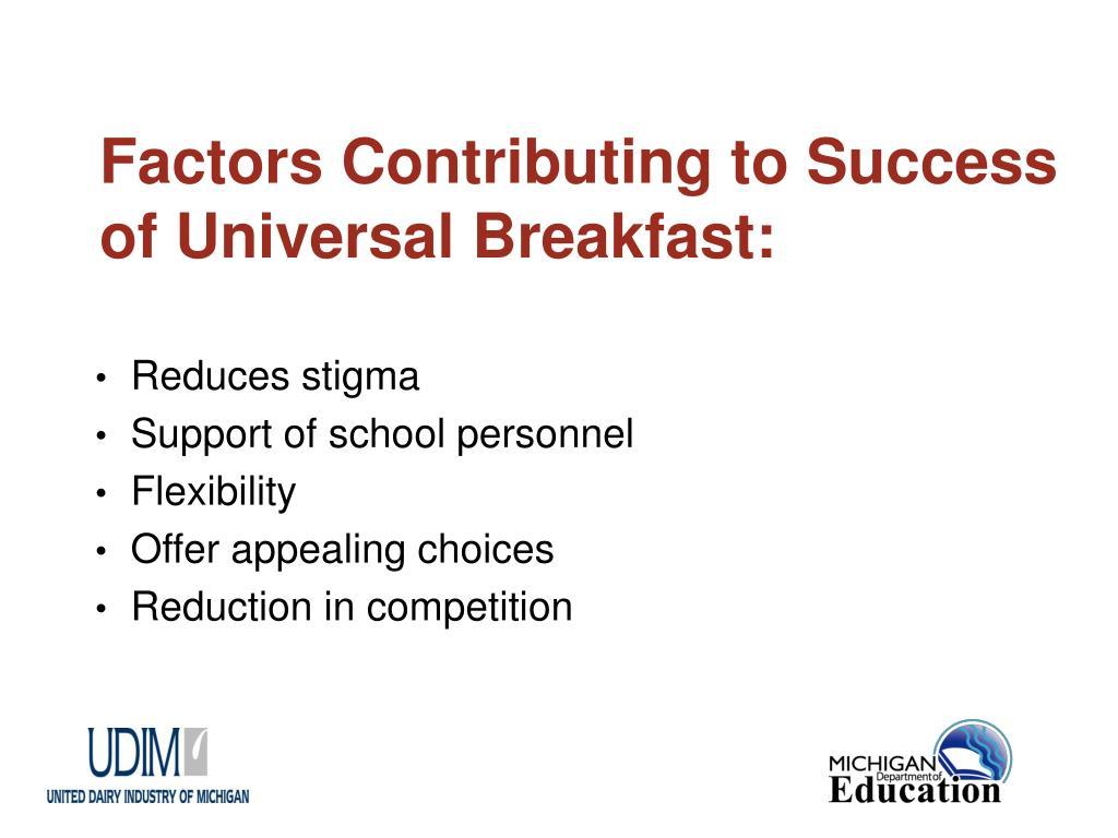 Factors Contributing to Success of Universal Breakfast: