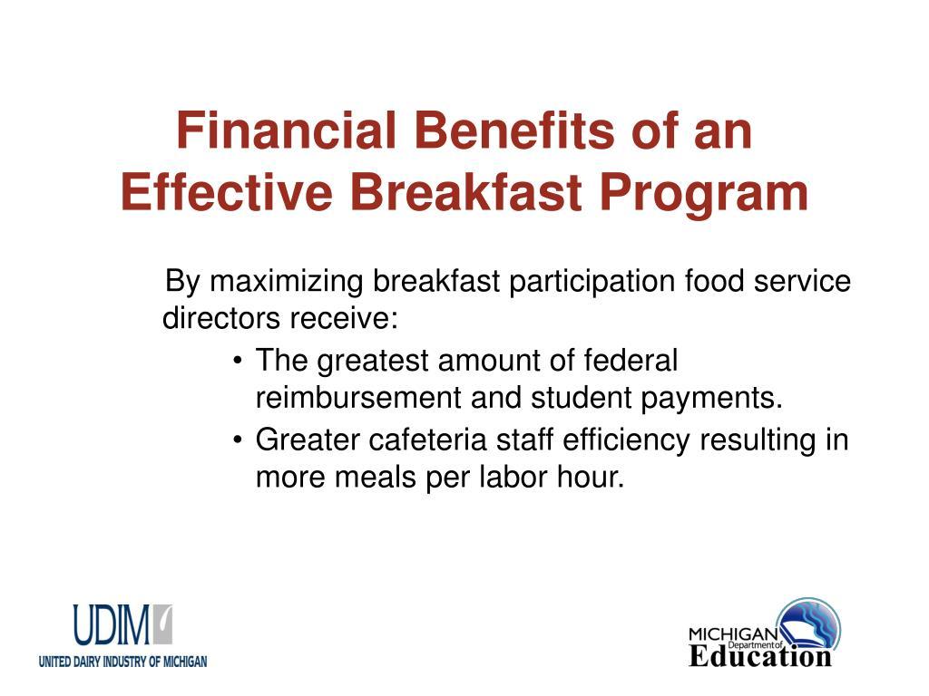 Financial Benefits of an Effective Breakfast Program