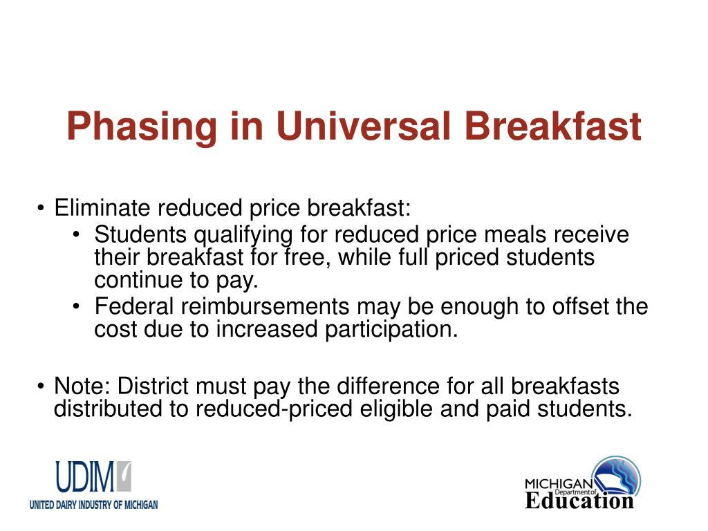 Phasing in Universal Breakfast