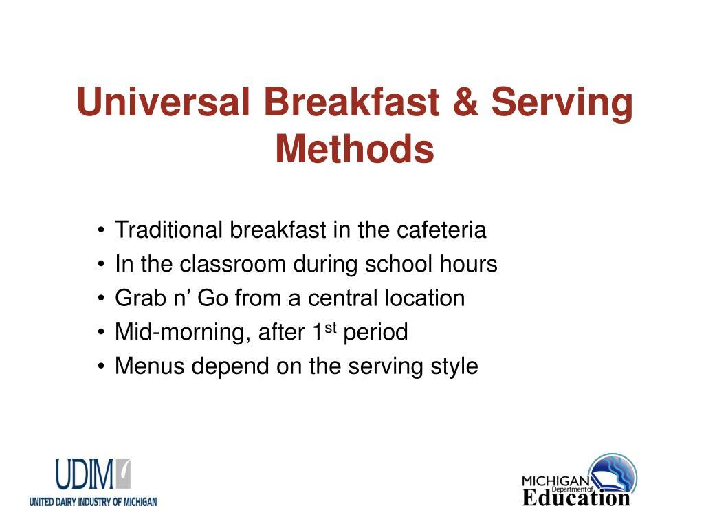 Universal Breakfast & Serving Methods